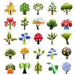 Bela coleção de ícones de árvore sazonal