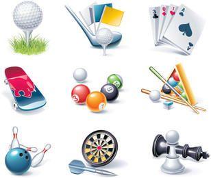 Conjunto de elementos de deporte y entretenimiento realistas