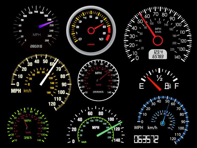 Digital & Analogue Automobile Speedometer Pack