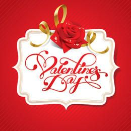 Etiqueta decorativa abstracta blanca de San Valentín