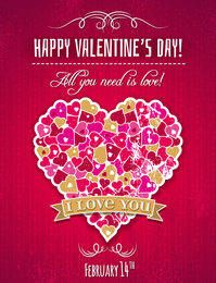 Tarjeta de San Valentín Grunge en forma de corazón con corazones
