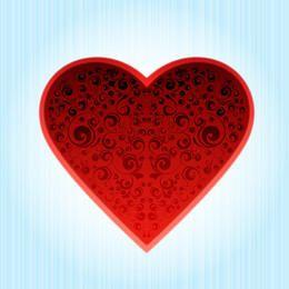 Fancy Decorative Heart on Blue Background