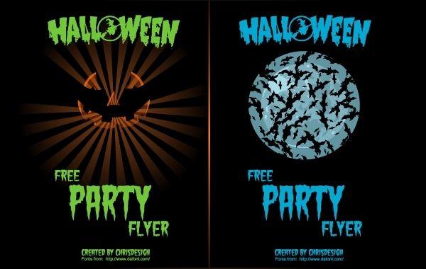 Pumpkin & Bat 2 Halloween Flyers - Vector download