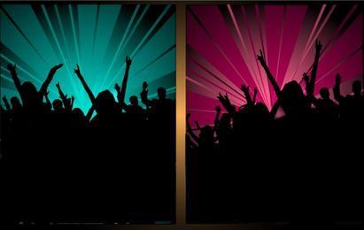 Silhueta torcendo multidão de festa
