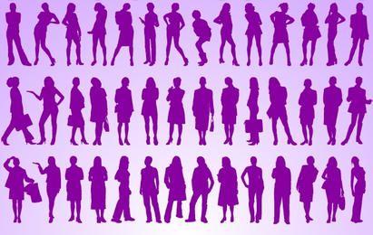 Mädchen stehen Pack Silhouette