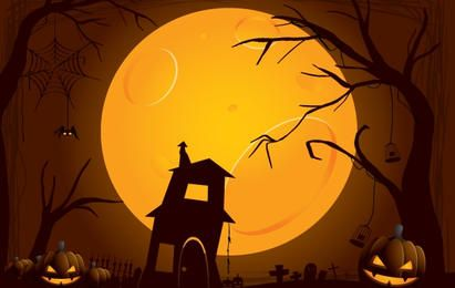 Creepy Halloween Night Illustration