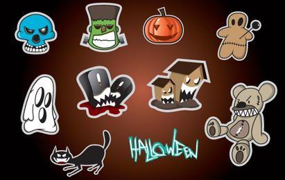 Conjunto de adesivos com objeto de Halloween