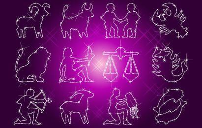 Glitzernde Illusion des Zodiac Outline Set