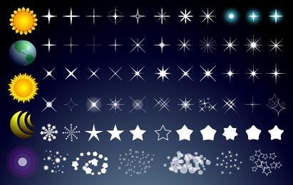 Pack de estrellas con luna sol y globo