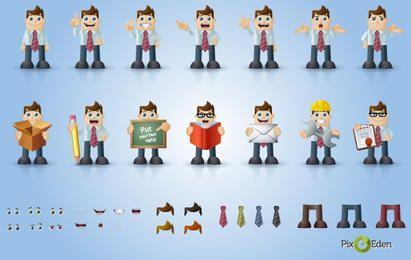 Pack de personajes de comic hombre de negocios
