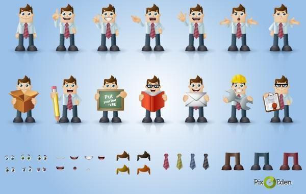 Comic Businessman Character Pack