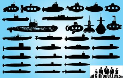 Barco submarino silueta silueta