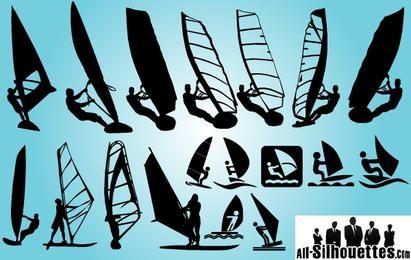 Silhueta de pacote de windsurf