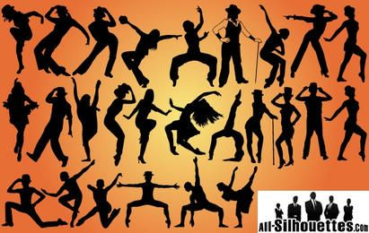 Jazz Dancers Pacote Silhouette
