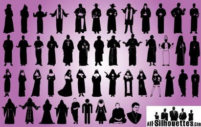 Priest and Robed Pack Silhouette