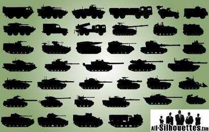 Silueta de paquete de vehículo militar
