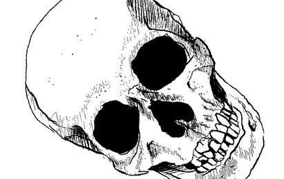 Cráneo torcido arte vectorial