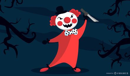 Personagem de desenho animado de palhaço mal
