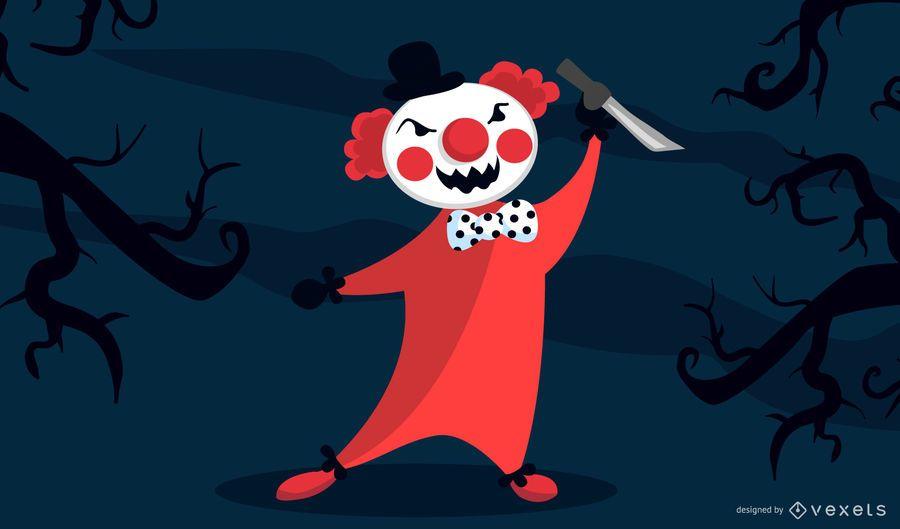 Evil Clown cartoon character