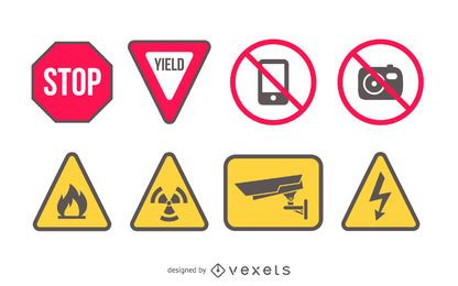 Sinais de aviso para impressão de vetor