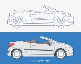 Cabriolet Convertible Vector de coche
