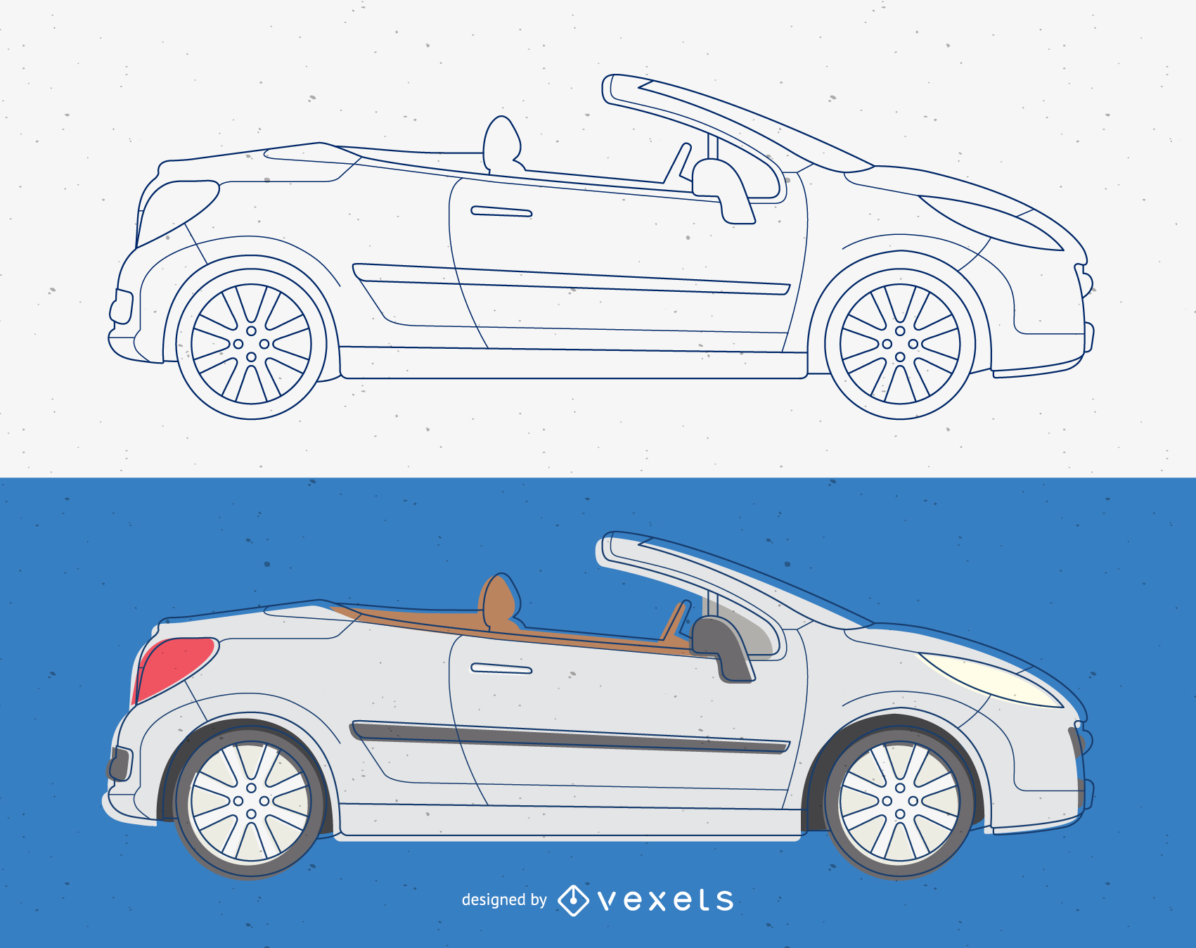 Vector de coche descapotable convertible