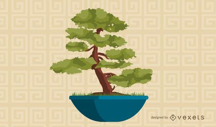 Asian bonsai tree illustration