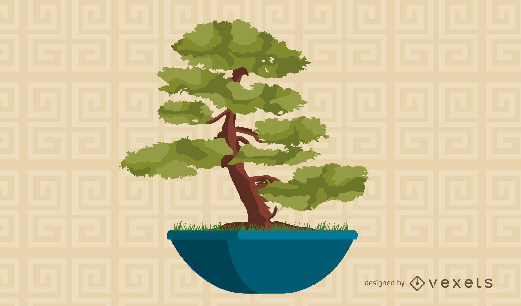 Ilustraci?n de ?rbol bonsai asi?tico