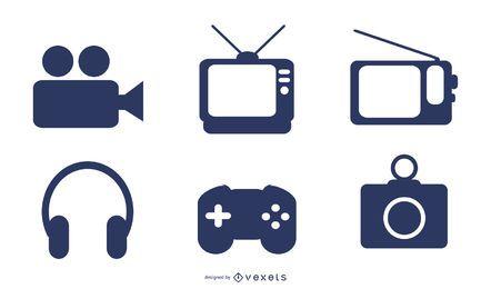 Conjunto de iconos de silueta de electrodomésticos