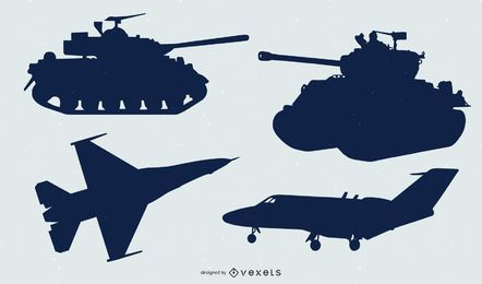 Siluetas de tanques y jets