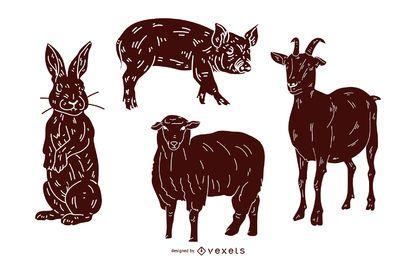 Colección de ilustración de silueta de animal