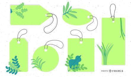 Free Vector Leaf Labels