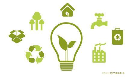 Lâmpada com ícones de energia verde
