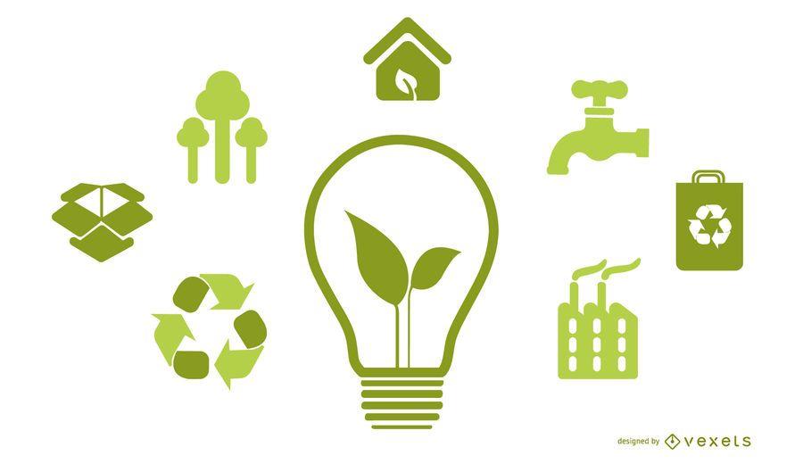 Bombilla con iconos de energía verde