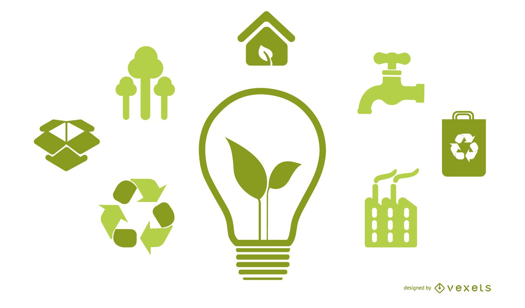 Light bulb with green energy icons