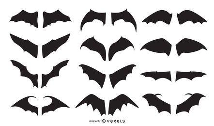 Conjunto de vectores de silueta de ala de murciélago
