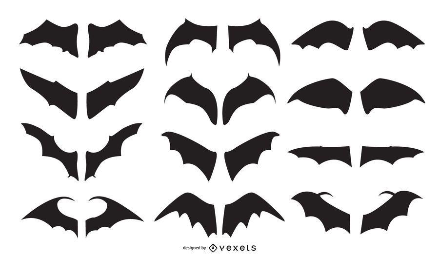 Bat Wing Silhouete Vector Set