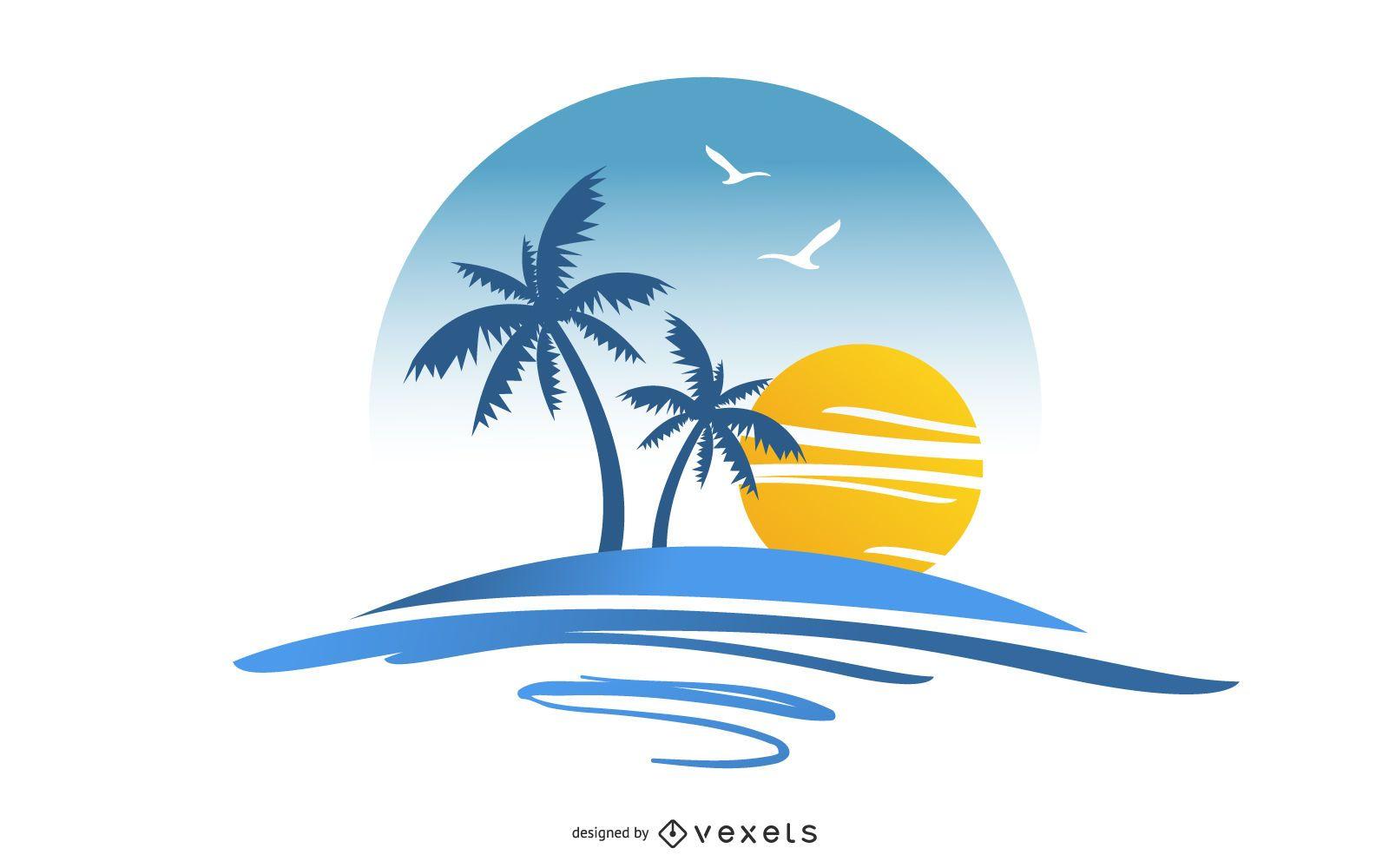 Vector de isla de verano