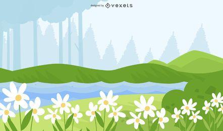 Diseño de ilustración de campo de flores