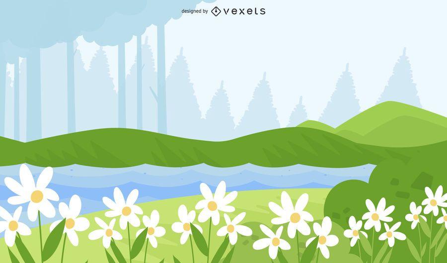 Vector de campo de flores