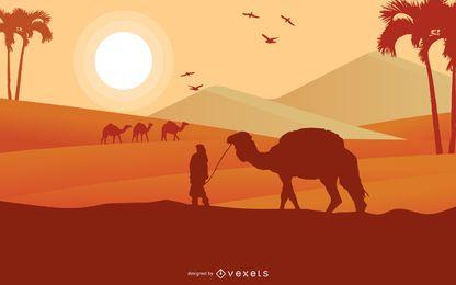 Desenho de ilustração da paisagem do deserto