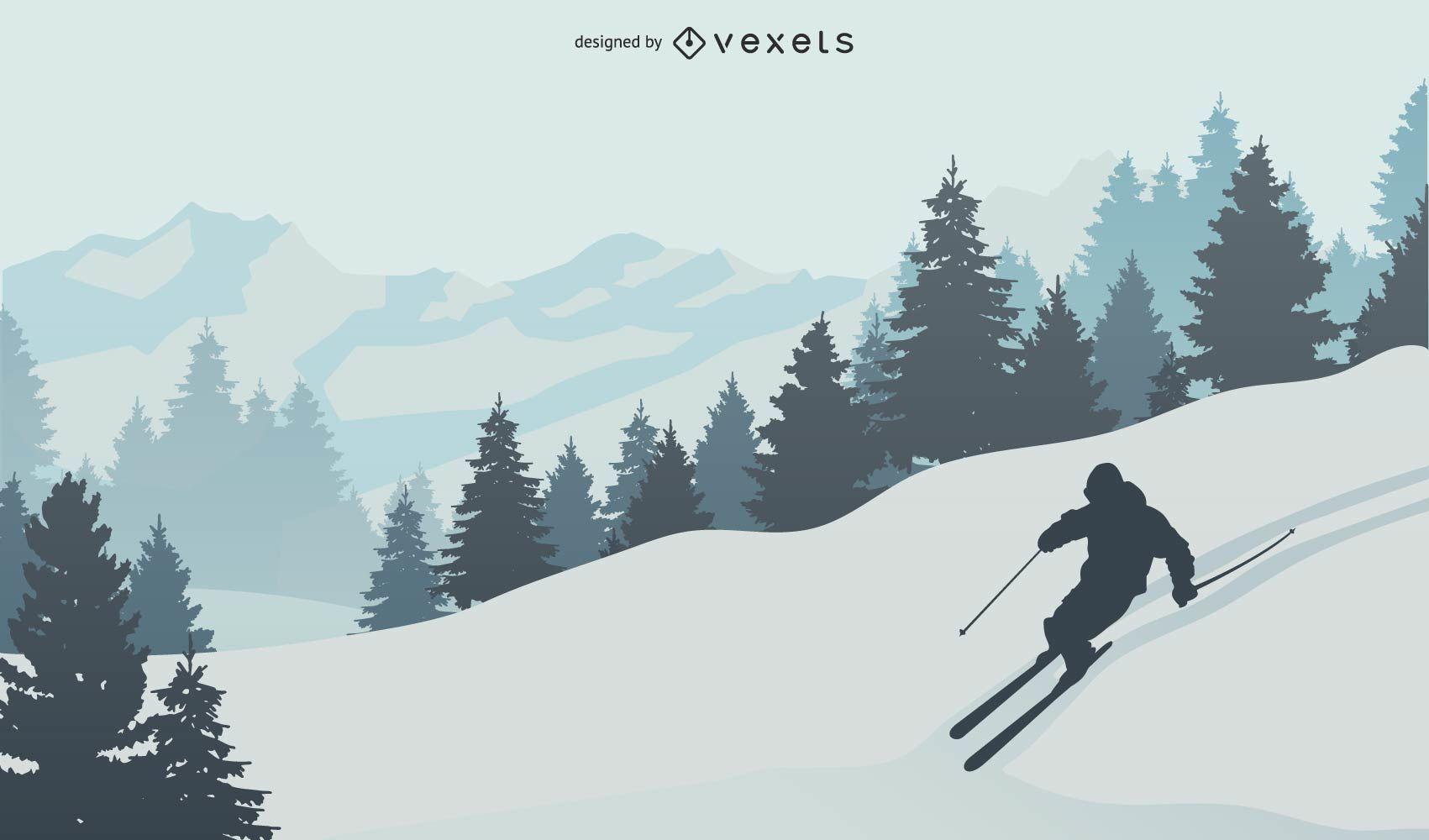 Ski in the Snowy Mountain Vector Scene