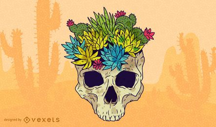 Skull With Flowers Vector Design