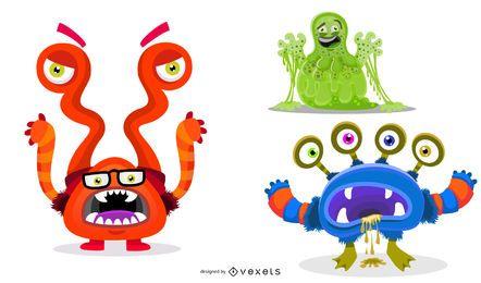 Niedliche illustrierte Monster-Cartoons