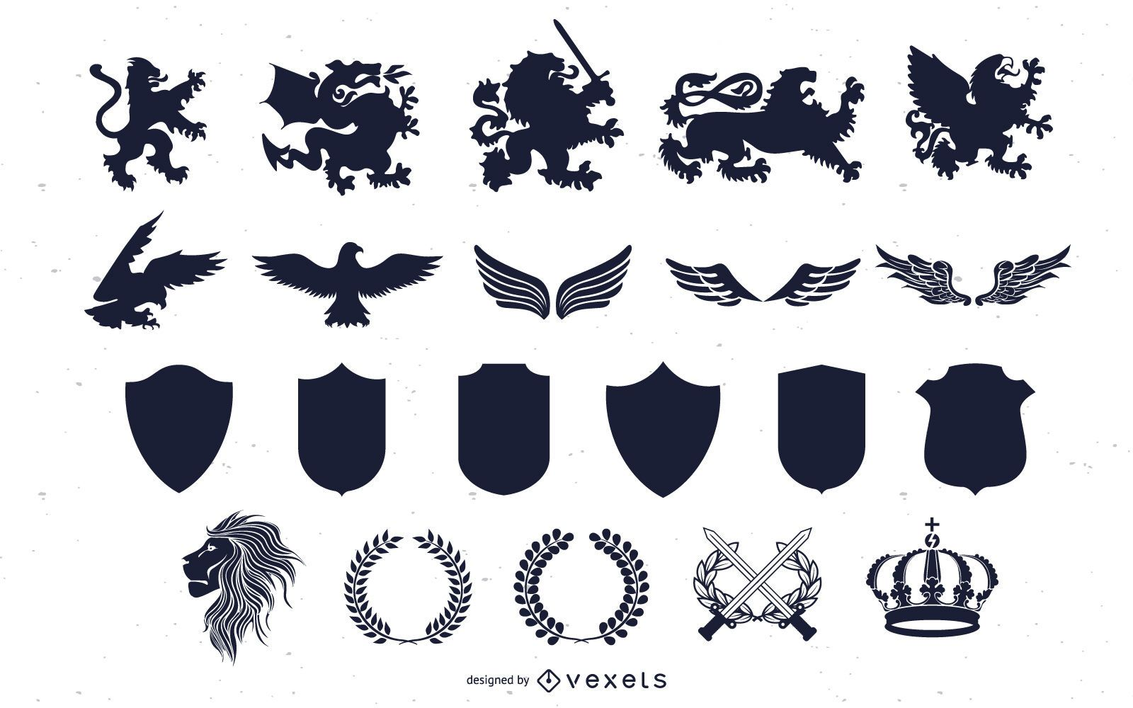 Heraldry Silhouette Elements Pack