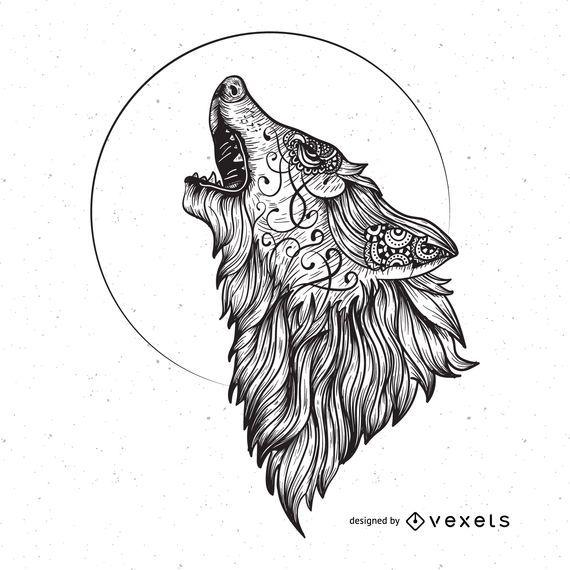Gráfico de vetor de lobo bravo
