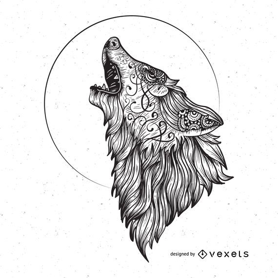 Gráfico de vector de lobo enojado