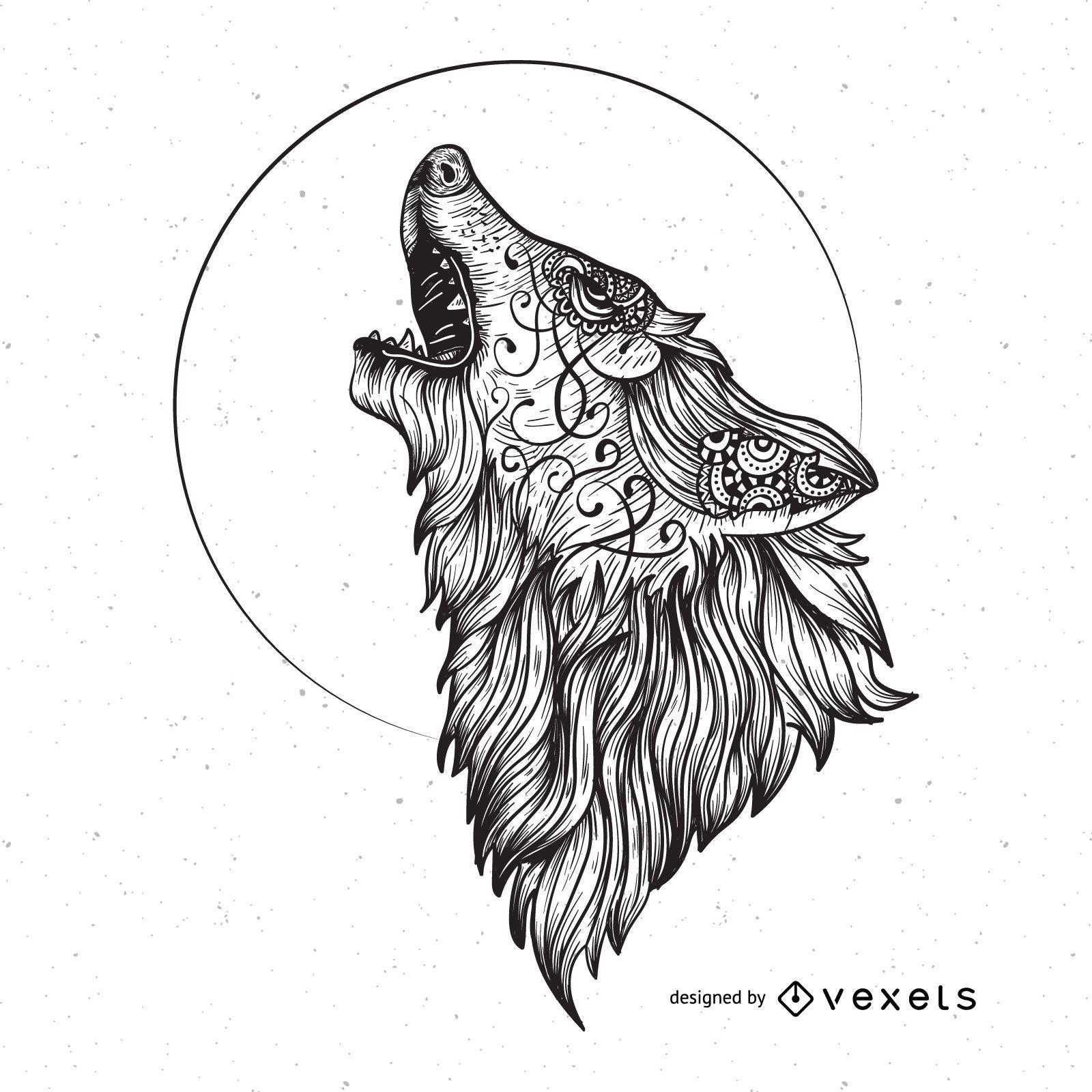 Gráfico vectorial lobo enojado