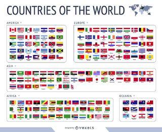 Vetor de bandeiras do mundo