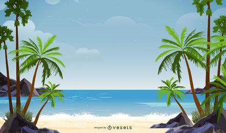 Diseño de fondo de playa de palmera